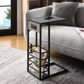 Carbon Loft Abidin C-table with USB Ports/Outlets and Magazine Storage