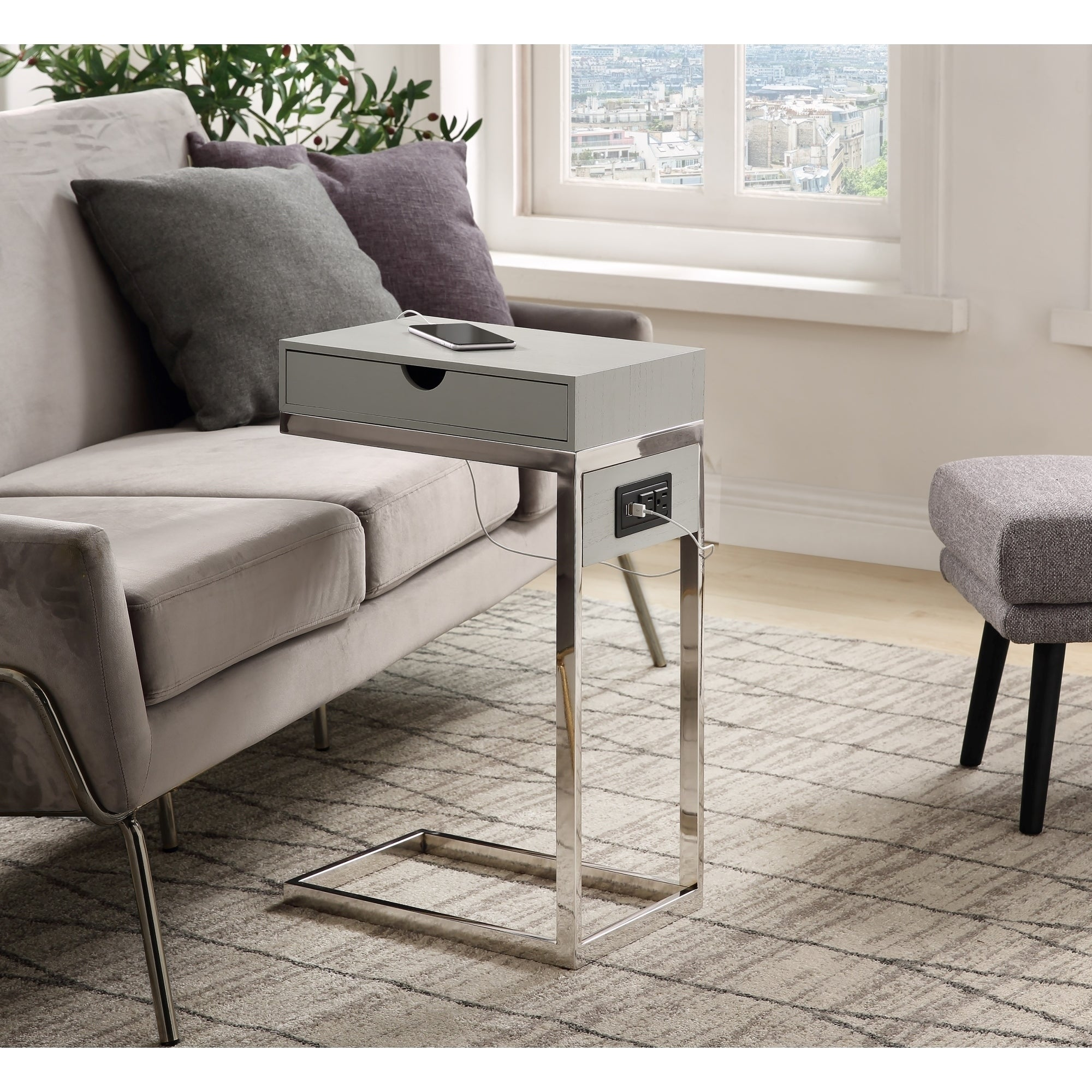 Carbon Loft Cedes C Table With Usb Ports Outlets And Storage Drawer