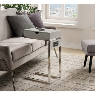 Carbon Loft Cedes C-table with USB Ports/Outlets and Storage Drawer