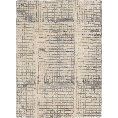 """Marcy Hand-Tufted Ivory and Grey Area Rug - 7'6""""x9'6"""""""