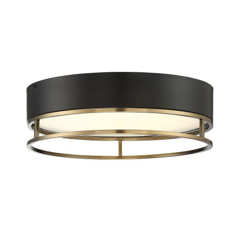 Creswell Warm Brass Oval LED Flush Mount
