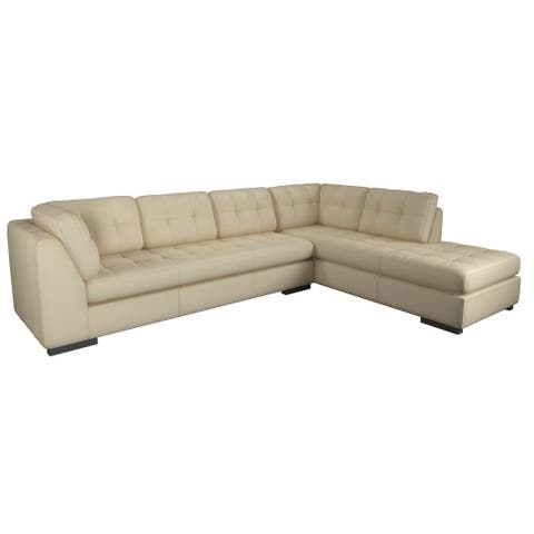Made to Order Laguna 100% Top Grain Leather Sofa Chaise Sectional - Right Chaise Facing
