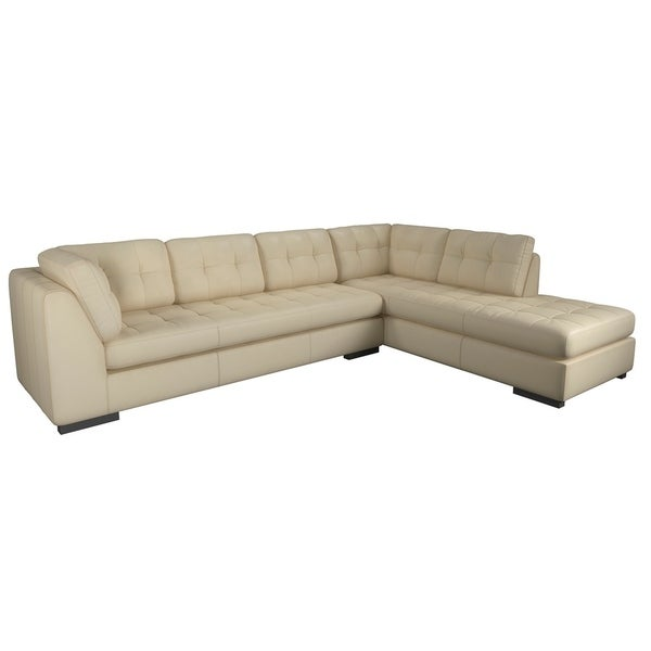 Made to Order Laguna 100% Top Grain Leather Sofa Chaise Sectional - Right Chaise Facing. Opens flyout.