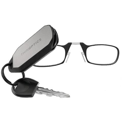 ThinOptics +1.00 Black Reading Glasses, Keychain Case KC1.0BLACKISR