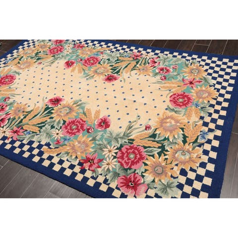 """Hand Hooked Wool Traditional Oriental Area Rug Traditional French Country (5'6""""x8'6"""") - 5'6"""" x 8'6"""""""