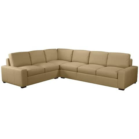 Made to Order Monza 100% Top Grain Leather Sectional - Right Arm Facing