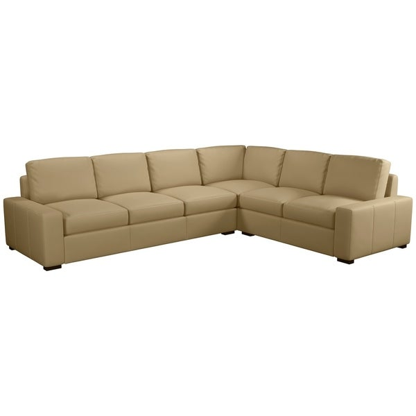 Made to Order Monza 100% Top Grain Leather Sectional - Left Arm Facing