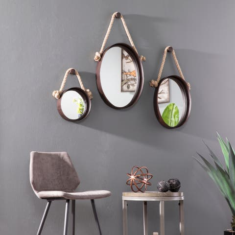 Carbon Loft Morgan Industrial Black Metal Wall Mirrors (Set of 3)