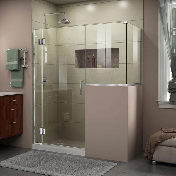 "DreamLine Unidoor-X 59 in. W x 36 3/8 in. D x 72 in. H Frameless Hinged Shower Enclosure - 36.38"" x 59"""