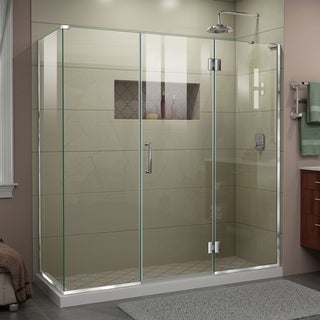 "DreamLine Unidoor-X 70 in. W x 34 3/8 in. D x 72 in. H Frameless Hinged Shower Enclosure - 34.38"" x 70"""