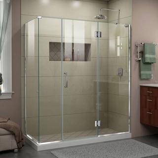 "DreamLine Unidoor-X 63 1/2 in. W x 34 3/8 in. D x 72 in. H Frameless Hinged Shower Enclosure - 34.38"" x 63.5"""