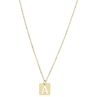 14k Yellow Gold Cut-out Letter Initial Square Tile Pendant Necklace (adjustable to 16 or 18 inches)