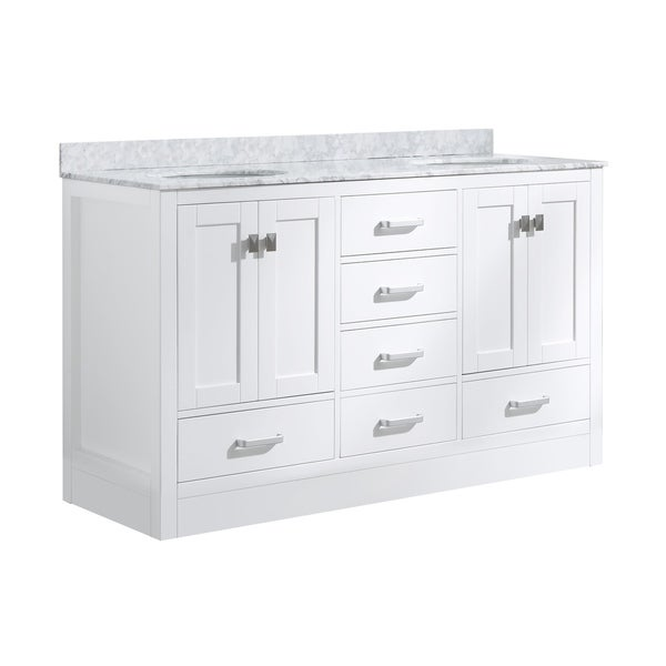 "ANZZI Chateau 60"" Bathroom Vanity Set in Rich White"