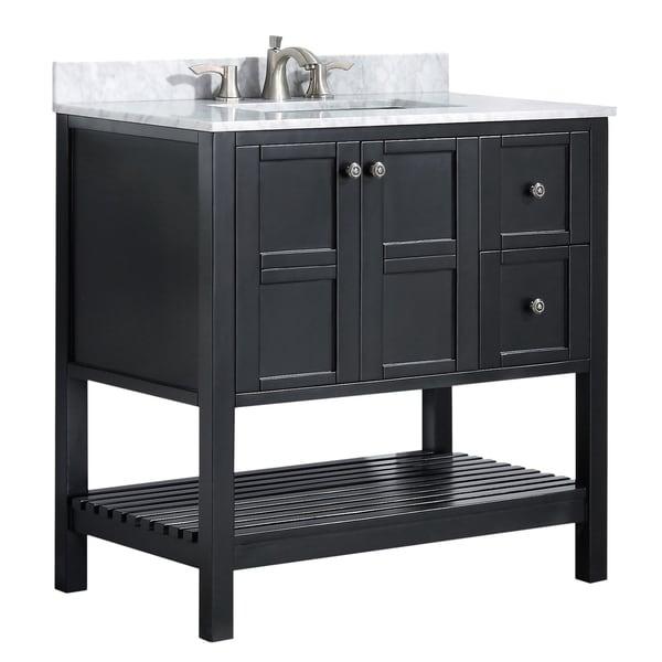 """ANZZI Montaigne 36"""" Bathroom Vanity Set in Rich Black"""