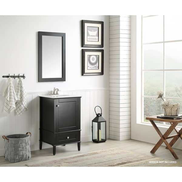 Awesome Shop Anzzi Alexander 21 Bathroom Vanity Set In Rich Black Beatyapartments Chair Design Images Beatyapartmentscom