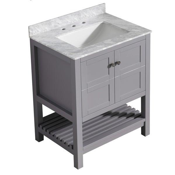 "ANZZI Montaigne 30"" Bathroom Vanity Set in Rich Gray"