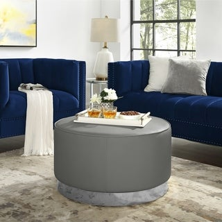 Bobby Upholstered Cocktail Ottoman with Metal Base
