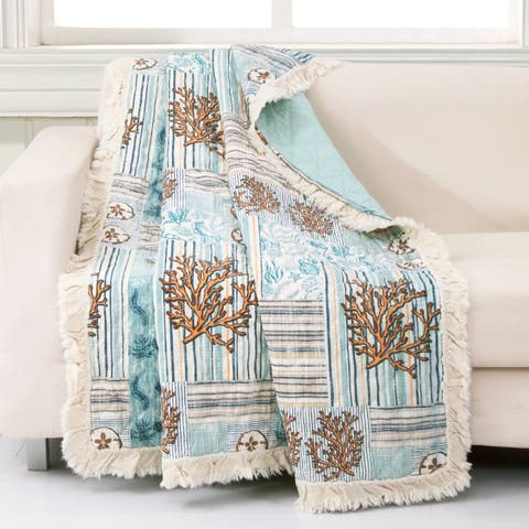 Greenland Home Fashions Key West Cotton Throw Blanket, Seafoam