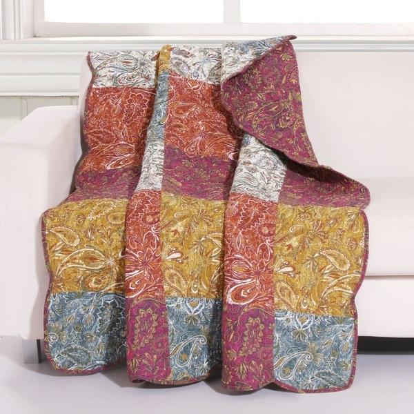 Porch & Den Merritt Spice Color Paisley Cotton Throw Blanket. Opens flyout.