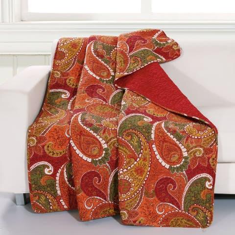 Greenland Home Fashions Tivoli Cotton Throw Blanket, Cinnamon