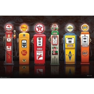Vintage Gas Pumps Poster