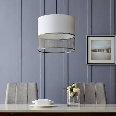Strick & Bolton Aurora Transitional White Antique Brass Pendant Light