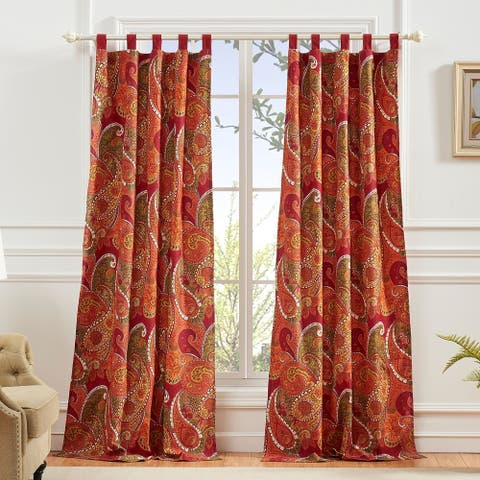 Greenland Home Tivoli Curtain Panel Pair (Set of 2), Tab Top, Cinnamon