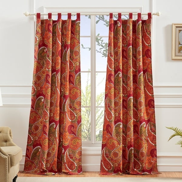 Greenland Home Tivoli Curtain Panel Pair (Set of 2), Tab Top, Cinnamon. Opens flyout.
