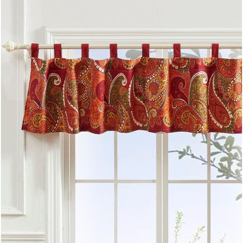 Greenland Home Fashions Tivoli Window Valance, Tab Top, Cinnamon
