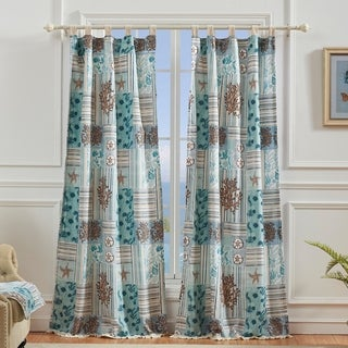 Greenland Home Key West Window Curtain Panel Pair (Set of 2), Tab Top, Seafoam