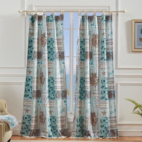 Greenland Home Key West Window Curtain Panel Pair (Set of 2), Tab Top, Seafoam