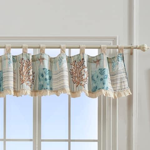 Greenland Home Fashions Key West Window Valance, Tab Top, Seafoam