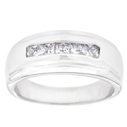 5-Stone Silver Men's Channel Set CZ Band Ring by Simon Frank Designs