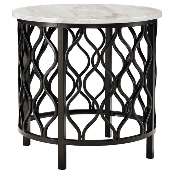 Shop Carbon Loft Pendragon Faux Marble Round End Table Free