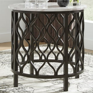 Carbon Loft Pendragon Faux Marble Round End Table