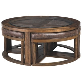 Hannery Brown Cocktail Table with Stools