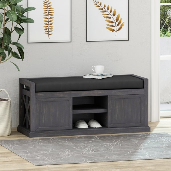 Cantebella Modern Acacia Wood Storage Bench with Cushion by Christopher Knight Home. Opens flyout.