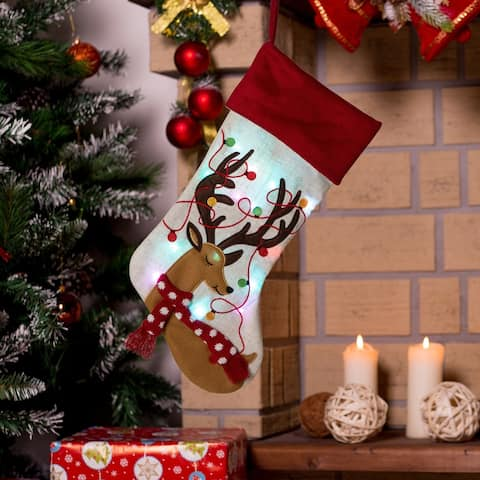 """Glitzhome 21""""L LED Embroidered Linen Christmas Stocking"""