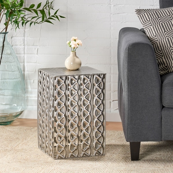 Donnellon Modern Handcrafted Square Iron Accent Table by Christopher Knight Home. Opens flyout.