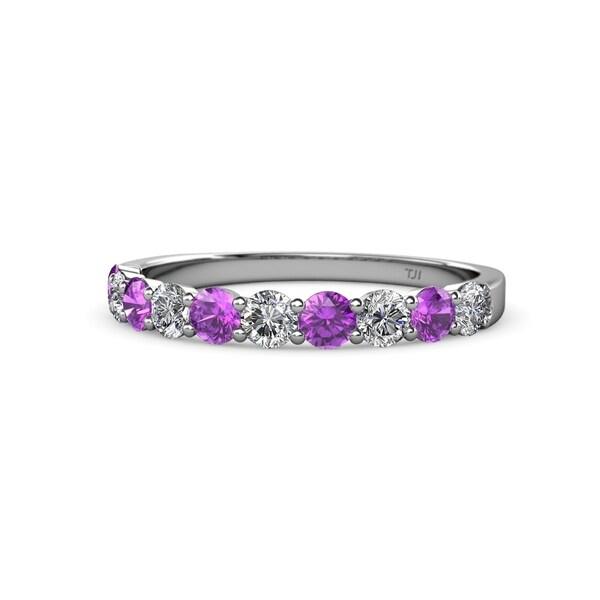 8774f610199d7 Shop TriJewels Amethyst & Diamond 10 Stone Wedding Band 1.00 ctw ...