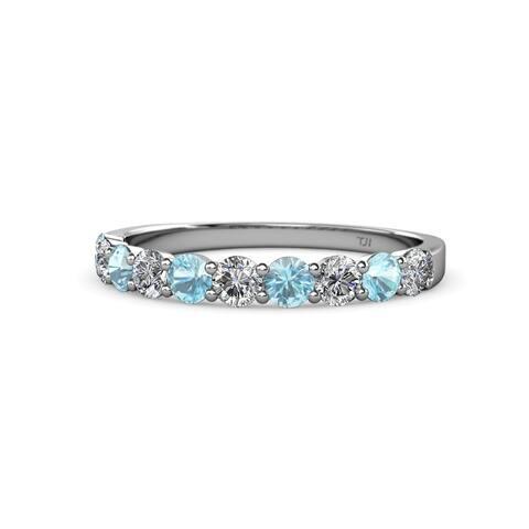 TriJewels Aquamarine & Diamond 10 Stone Wedding Band 1.00ctw 14KW Gold
