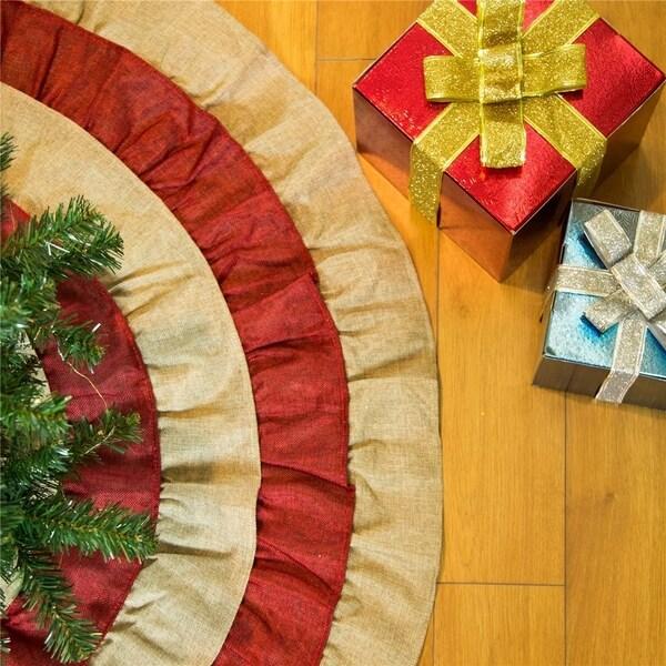 """Shop Glitzhome 48""""D 3D Faux Burlap Christmas Tree Skirt ..."""