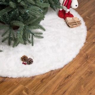 """Glitzhome 48""""D White Plush Christmas Tree Skirt"""