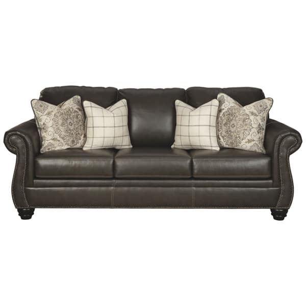 Shop Lawthorn Slate Leather Sofa w/ Nailhead Trim - Free ...