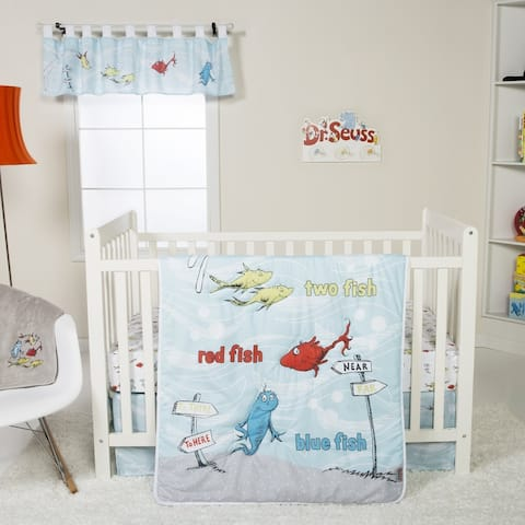Dr. Seuss One Fish Two Fish 4 Piece Crib Bedding Set