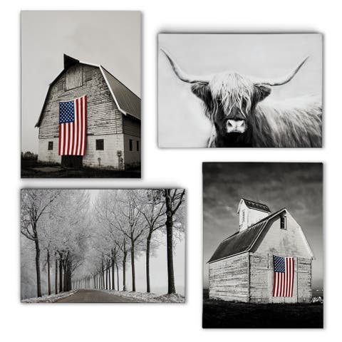 Black and White Americana -Gallery Wrapped Canvas Set