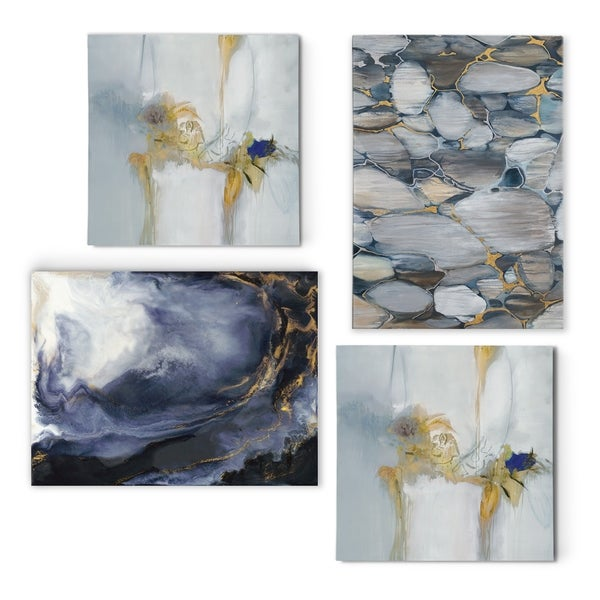 Geometric Blues -Gallery Wrapped Canvas Set