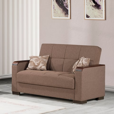 Strick & Bolton Arman Upholstered Convertible Loveseat with Storage