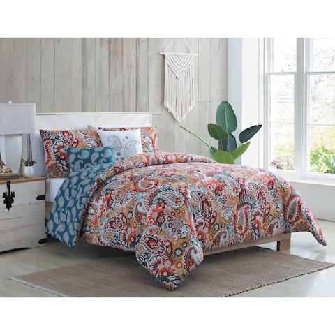 VCNY Home Bree Reversible Red Paisley Duvet Cover Set