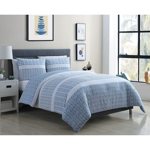 VCNY Home Pure Blue and White Stripe Cotton Duvet Cover Set